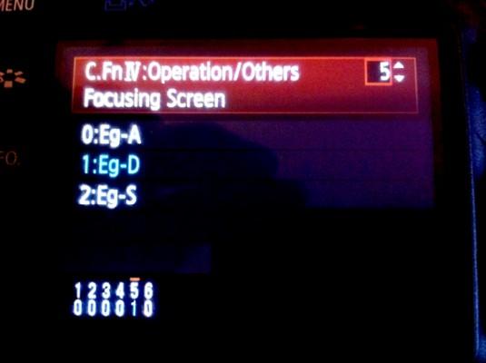 Canon Operation Menu